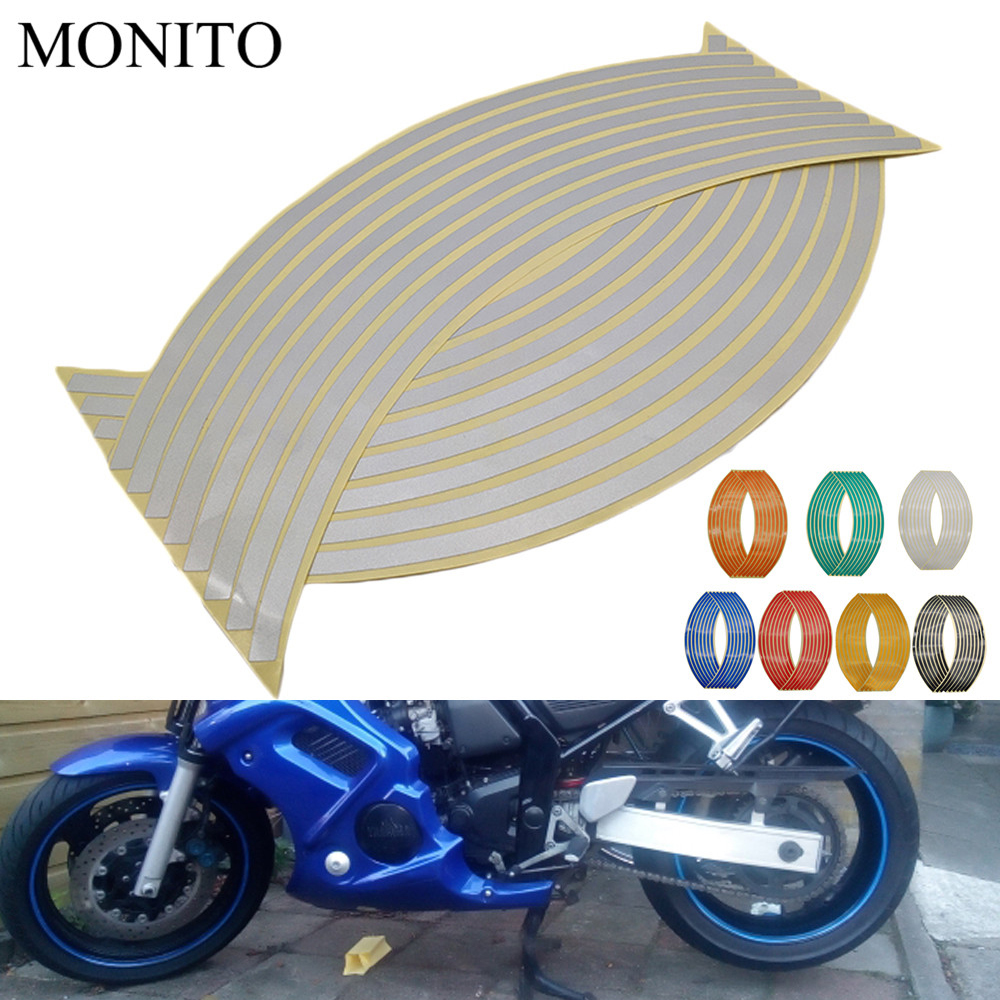 Motorcycle <font><b>Wheel</b></font> <font><b>Sticker</b></font> Reflective Decals Rim Tape Strip For <font><b>YAMAHA</b></font> mxt850 niken gt XT1200Z yzf r1 r3 r25 <font><b>r6</b></font> r125 Accessories image