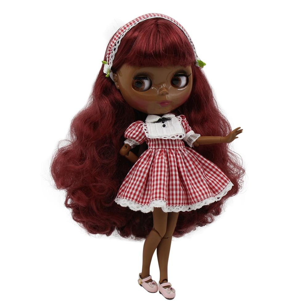 Blyth nude doll super balck Darkest skin tone 30cm wine red long curly hair joint body