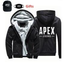 Cap & Maschera come Gits APEX LEGENDS felpe con cappuccio di spessore caldo interno in pile hip hop Rapper Bboy ballerino DJ con cappuccio della chiusura lampo cappotto del rivestimento