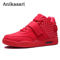 Men Fashion Shoes Winter Brand Casual Breathable Canvas High Top Shoes Lace Up Flat Red Wedge