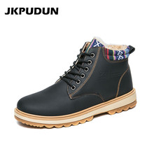 JKPUDUN Winter Ankle Boots Men Casual Shoes Lace-Up Leather Waterproof Work Tooling Mens Warm Fur Boots Military Army Botas Bot(China)