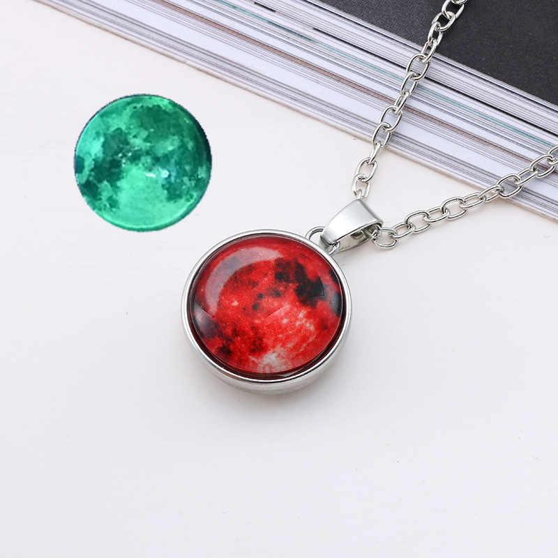 Hot New Arrival świecące biżuteria księżyc w pełni naszyjnik ręcznie robione szkło kopuła księżycowy zaćmienie naszyjnik świecące w ciemności wisiorek biżuteria