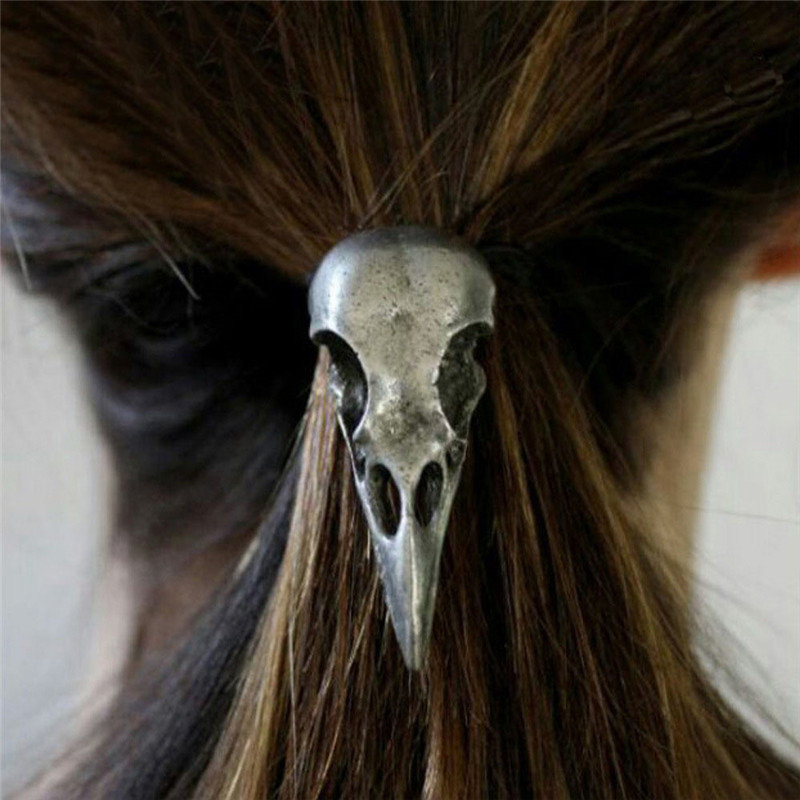 Fashion 1 Pc Women Punk Gothic Raven Skull Crow Elastic Hair Rope Hair Band Hair Accessories
