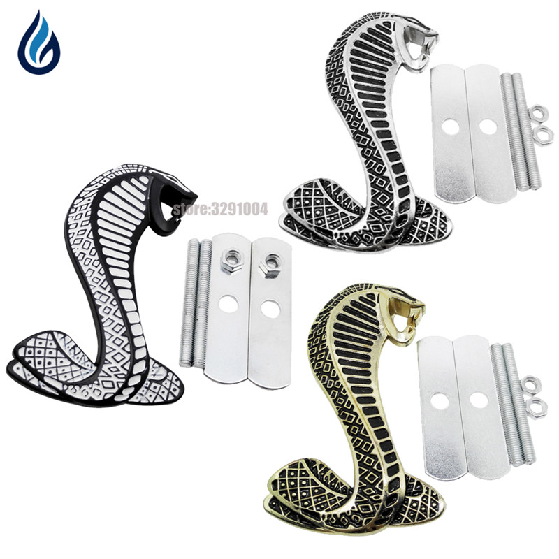 3D Cobra Car Front Grille Emblem Badge Stickers Accessories for Ford mustang Shelby GT500 GT350 Focus Mondeo Kuga Fiesta Escort 3d ss car front grille emblem badge stickers accessories styling for jaguar honda chevrolet camaro cruze malibu sail captiva kia