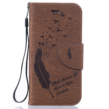 Luxury 3D Embossed Feather Leather Wallet Silicone Cases On the for iPhone 5 5S SE 6 6s Plus iPod Touch 5 6 Case Cover Capa