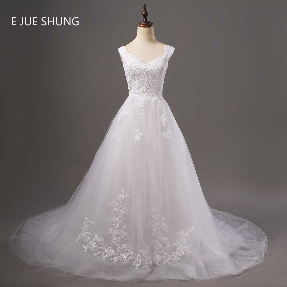 E JUE SHUNG White Vintage Lace Appliques Wedding Dresses Cap Sleeves Sweetheart Romantic Wedding Gowns robe de marriage