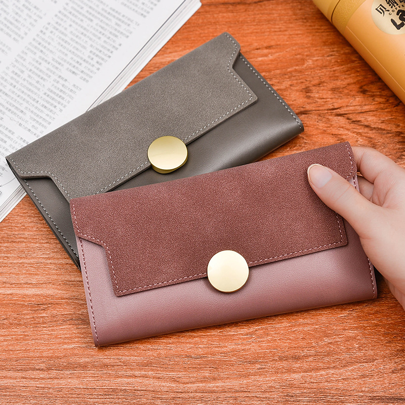 New ladys Large-Scale Scrub Leather Wallet Big Capacity Multi-Card Bit Buckle Up Wallet Beautiful Generous Lovely