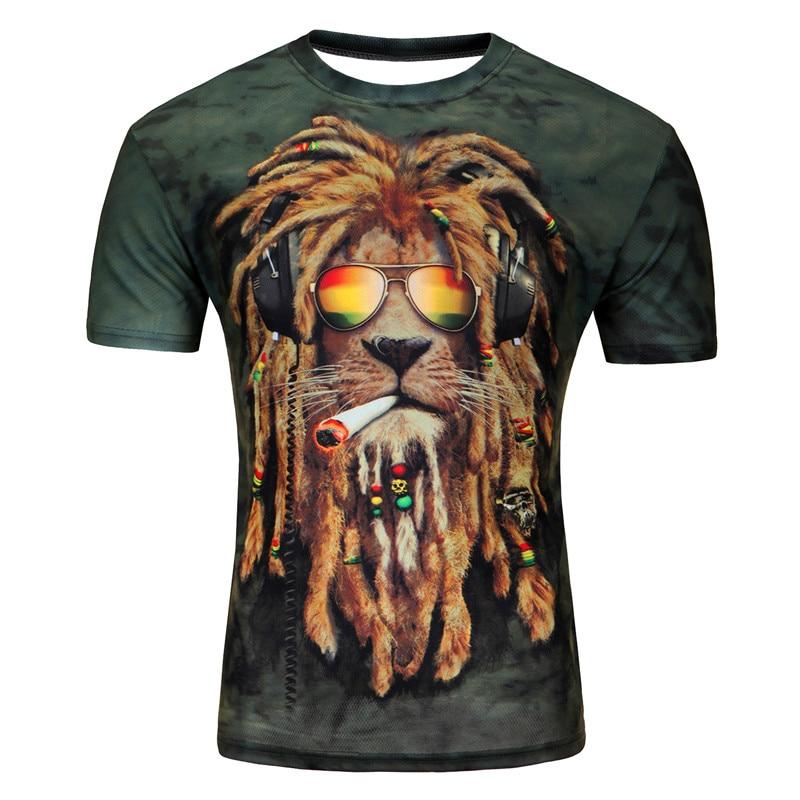 2018 márka Ruházat Férfi nők 3d póló vicces nyomtatás színes haj oroszlán király nyári hűvös póló utcai viselet teteje hip hop pólók