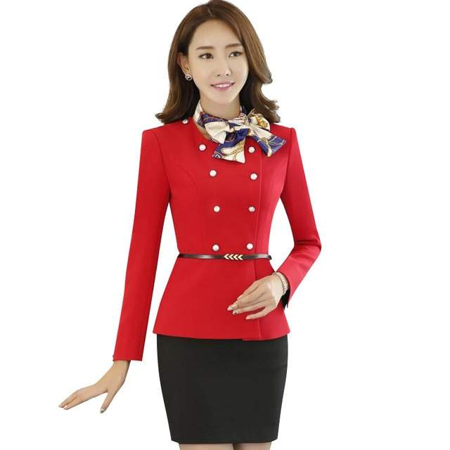 Elegant Bow Scarf women skirt suits OL formal Double Breasted long-sleeve  blazer with skirt 0a7af70b45cf