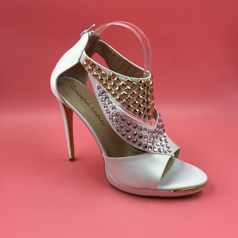 White Wedding Shoes Sandal Womens Crystals Open Toe T-strap High Heels Dress Sandals Ladies Sandal Shoes Summer Style Back Zip