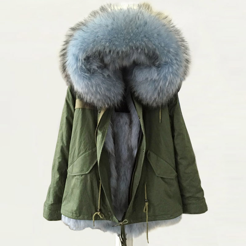 Winter Army Green Coat Light Blue real fox High quality warm thick ...