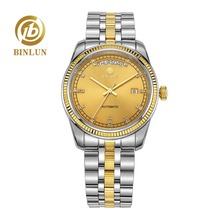 BINLUN Classical Dial Week Display 18K Gold Men's Automatic Mechanical Watch Luxury All Golden Automatic Watch Top Male Watches
