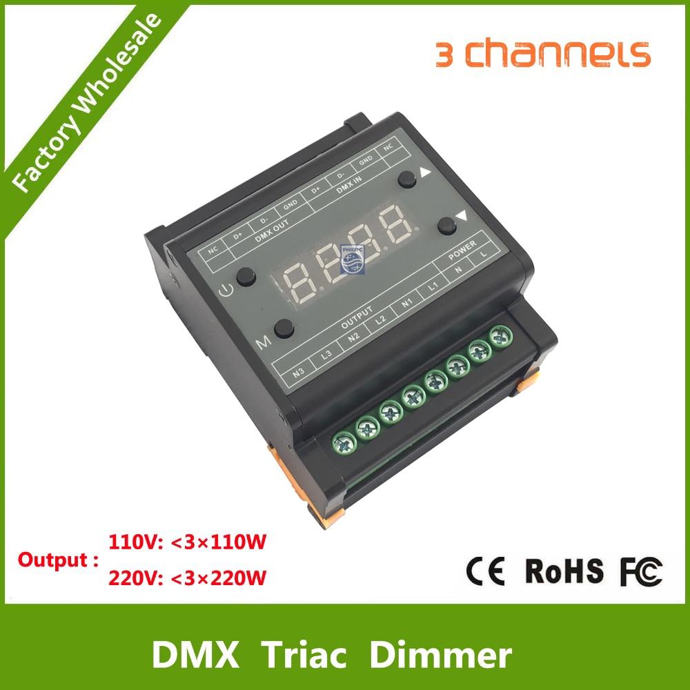 DMX302 DMX triac dimmer led brightness controller AC90-240V 50Hz/60Hz Output high voltage 3channels 1A/CH for led panel light kvp 24200 td 24v 200w triac dimmable constant voltage led driver ac90 130v ac170 265v input