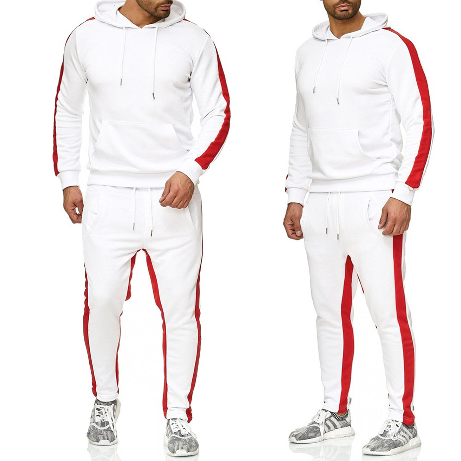ZOGAA Casual Tracksuit Two Piece Sets Gyms Fitness Men SweatsSuits 2 Pieces Tops And Pants Set For Male Outfits