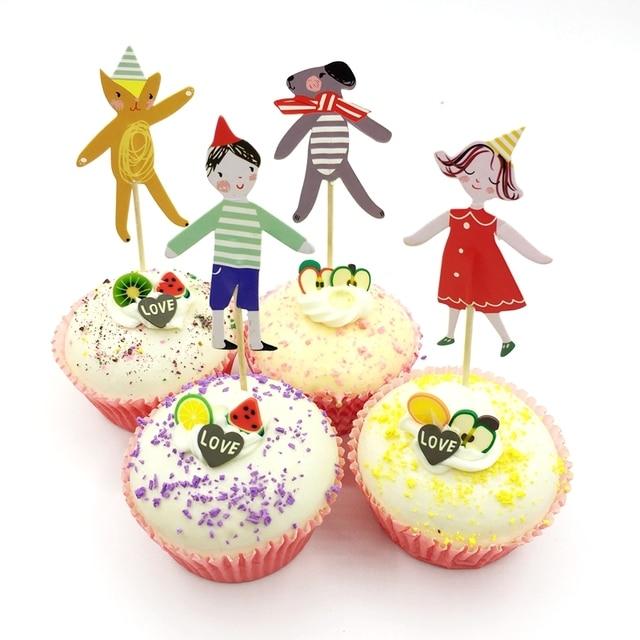 720pcs Cartoon Boy Girl Pet Dog Cupcake Toppers Picks Cake Decorations Baby Shower Child Favor Birthday