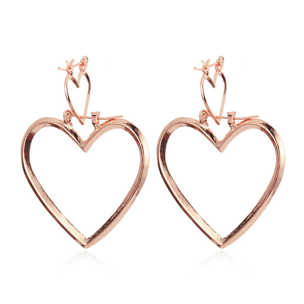a71efb589 1 Pair New Punk Style Double Big Heart Hoop Earrings Hip-Hop Gold Silver  Dangle