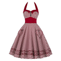 1950s Vintage Women Dresses 2017 Halter Sleeveless Bow Knot Party Dress Pin Up Rockabilly Fashion Style