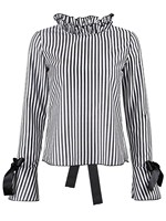 Hot Sale Black Stripe Tie Detail Open Back Blouse Casual Sexy Autumn Backless Long Sleeve Stand