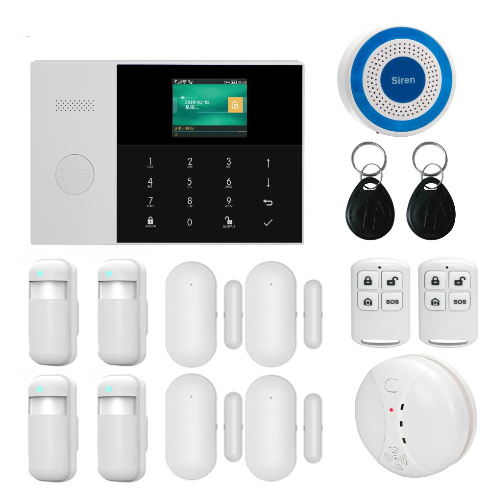 Dual network Wireless WiFi 3G WCDMA GSM GPRS home Alarm system APP remote control with 2.4 inch LCD for smart Home Security