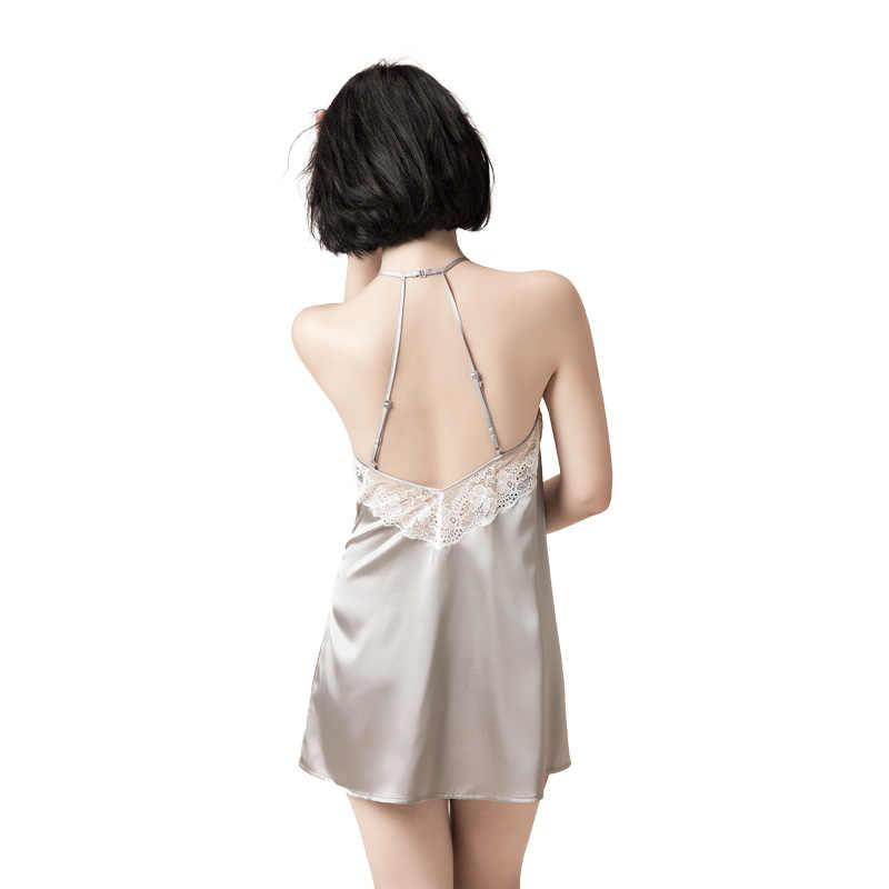 60770efc435 ... Women 100% Pure Silk Nightgowns Lace Sleepwear Halter Night Dresses  Gowns Mulberry Silk Sexy Lingerie ...