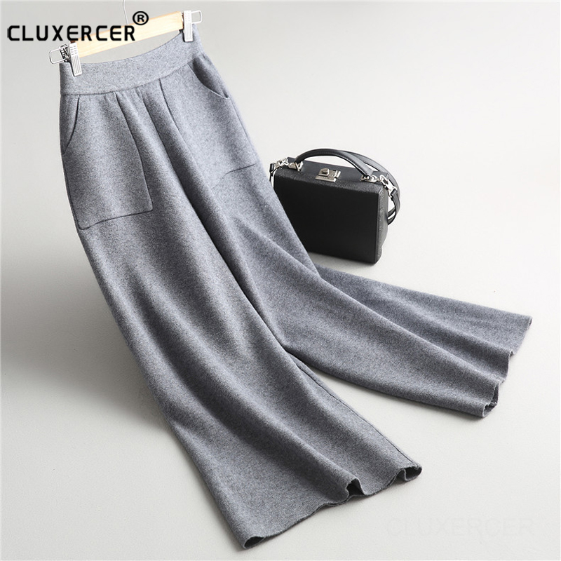 high quality trousers women 2017 New double pockets casual knitted   wide     leg     pants   ladies match all leisure trousers