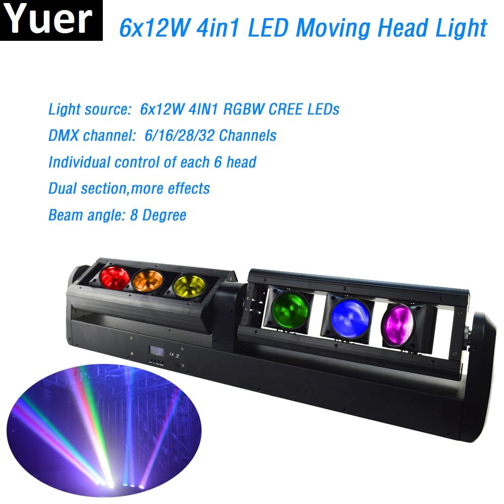 6x12W RGBW 4in1 led Moving head Bar lights led strip 90W DMX512 8 degree beam for dj light Disco Bar nightclub stage lighting