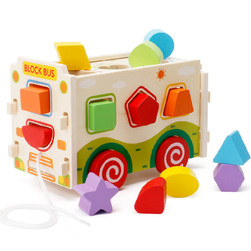 Wooden Blocks Bus Vehicle Blocks Toys For Children Oyuncak Shape Matching Car Montessori Game wooden stacking train vehicle building blocks kids educational montessori geometric assemb matching cognitive blocks toys