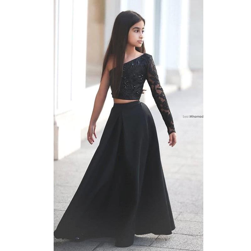 New 2016 Said Mhamad Black Long Sleeve Kids Prom Dresses A Line Two