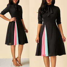 1dd5226ceba59 Women Evening Party Vintage Dress Ladies Strappy Bowknot Prom Swing Dress  Retro Housewife Pin Up Rockabilly