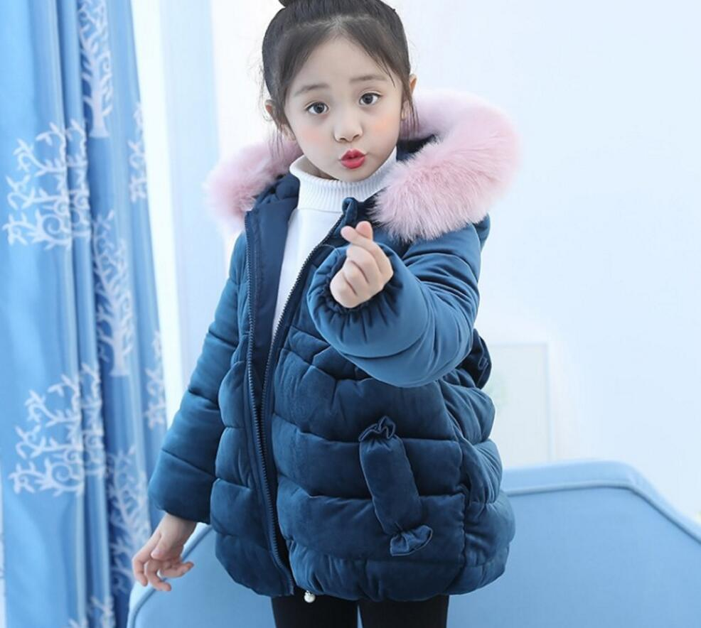New Fashion Children Winter Jacket Girl Winter Coat Kids Warm Thick Fur Collar Hooded long down Coats For Teenage HW2075 new winter girls boys hooded cotton jacket kids thick warm coat rex rabbit hair super large raccoon fur collar jacket 17n1120