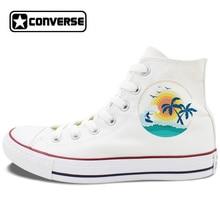 High Top White Black Converse Design Summer Style Sea Beach Sunshine Palm Tree Surfing Unique Canvas Sneakers