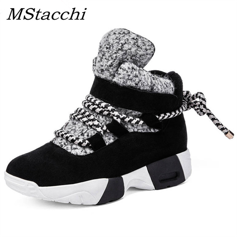 MStacchi Kuh Wildleder Leder Knöchel Schuhe Frau Lace Up Sneakers Flache Schuhe Damen Halten Warme Herbst Winter Schuhe Zapatos De mujer-in Knöchel-Boots aus Schuhe bei  Gruppe 1
