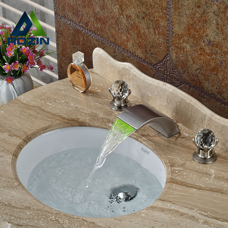 Deck Mounted LED 3 Color Changing Waterfall Spout Bathroom Faucet Brushed Nickel Basin Mixer Tap