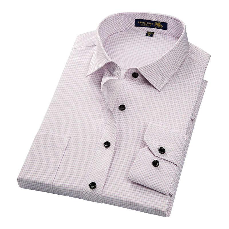 DAVYDAISY 新到着男性シャツ男性カジュアルシャツ男性の長袖ストライプ格子縞のシャツビジネスドレスシャツ S-4XL DS179
