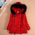 Hembra niño ropa medio-largo engrosamiento wadded chaqueta de algodón acolchado chaqueta de niño ropa de abrigo con capucha de invierno de las mujeres 2015
