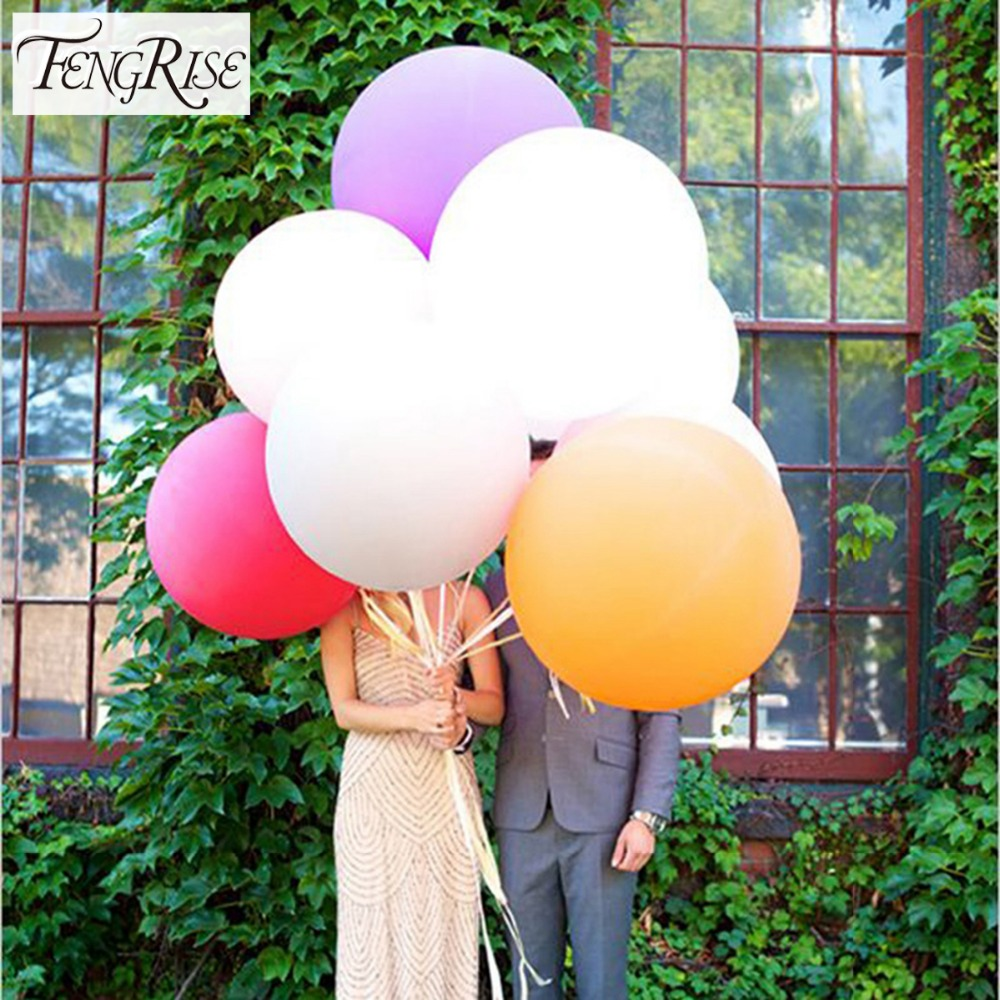 Fengrise 5pcs 90cm jumbo latex balloons wedding decoration for Helium balloon decoration