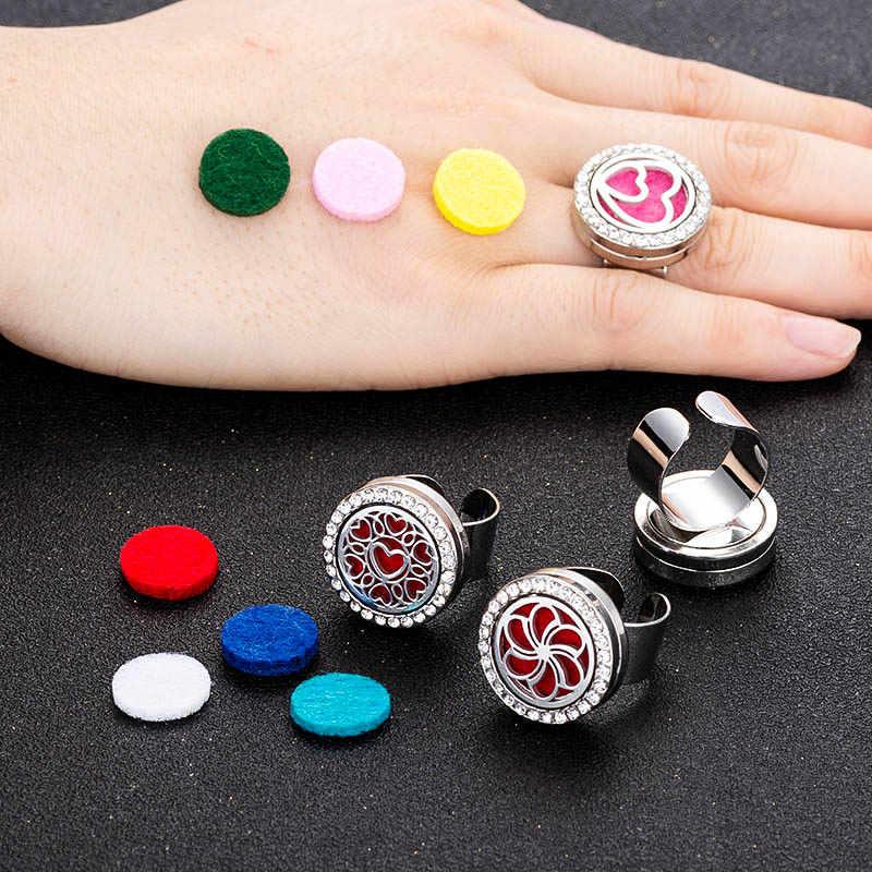 Novo aroma difusor anel de cristal beijo aço inoxidável ajustável ajuste masculino e feminino moda jóias enviar 1 feltro almofada ya3