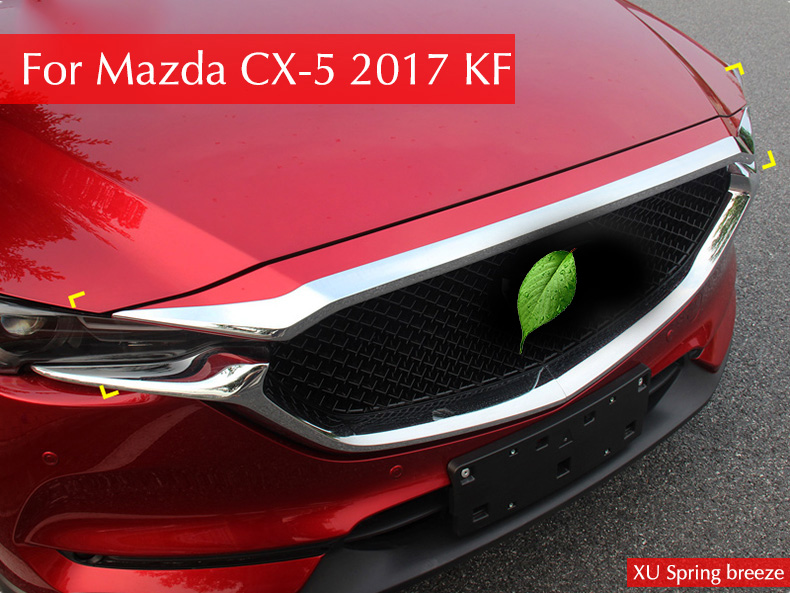 ABS Chrome Front Grille Hood Trim Sticker Strip Engine Cover Trim For Mazda CX 5 CX-5 CX5 2017 2018 Car Accessories Styling car front fog light eyebrow trim bumper sticker garnish decoration strips car styling for mazda cx 5 cx5 2017 2018 kf