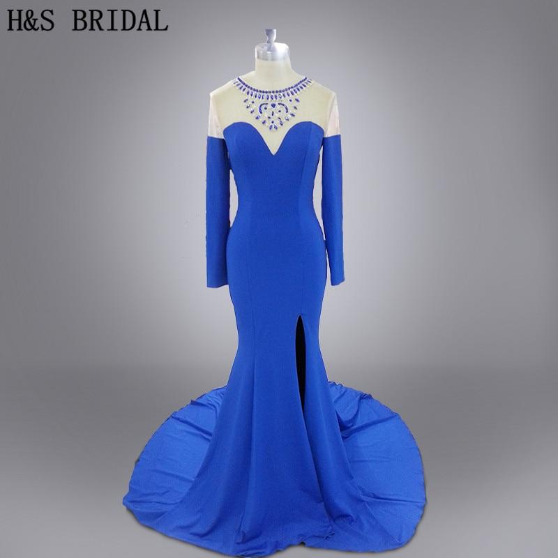 Photo réelle Vestidos soirée robe de bal bleu manches longues voir à travers le cou avant limon sirène sexy robe de soirée