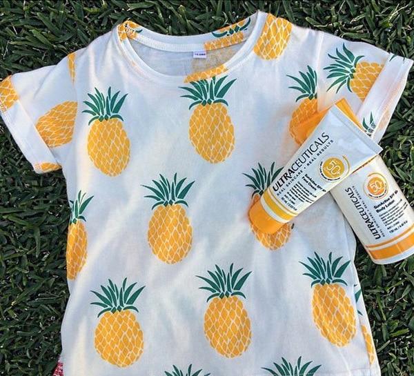 Baby 2016 Summer Boys T shirt Kids Tops Cartoon Pineapple Pattern Girls T-shirt Boys Clothes Children T shirts