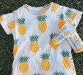 Bebé 2016 Del Verano de Los Muchachos T shirt Kids Tops Patrón de la Piña de la Historieta Camiseta de Las Muchachas Ropa de Los Muchachos de Los Niños camisetas