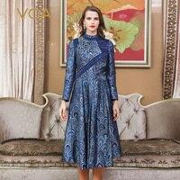 VOA Vintage Chinese Brocade Silk Dress Women Spring Long Sleeve Dresses High Quality Runway vestidos Blue Floral sukienka A10107