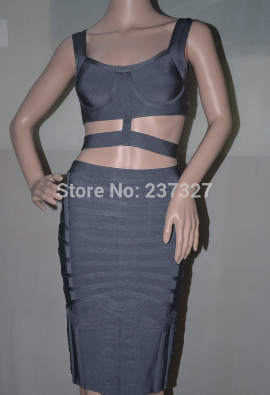Free Shipping New Year Bodycon Dress Women 2 Piece Charcoal Grey Banded  Bandage Two Piece Dress 2016-in Dresses from Women s Clothing on  Aliexpress.com ... ae1847af13d0