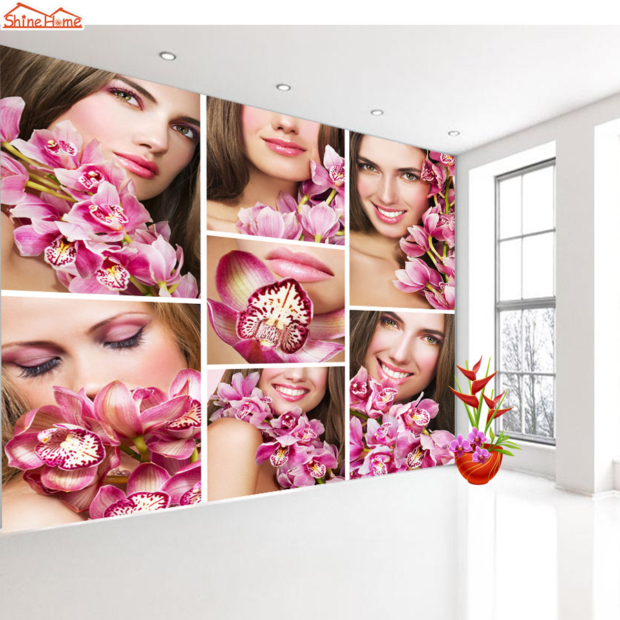 Shinehome modern beauty spa salon massage wallpapers wall Salon wallpaper