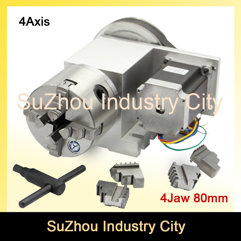 Sale! 80mm 4 Jaw CNC 4th Axis CNC dividing head/Rotation 6:1 Axis/A axis kit for Mini CNC router/engraver woodworking engraving  цены