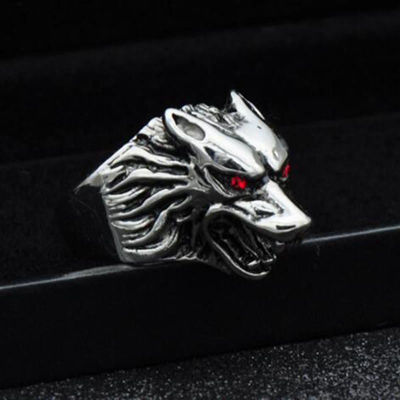 Meetcute Cool Silver Stainless Steel Wolf Ring Head Biker Ring for Men Vintage Gothic Punk Style Animal Rings For Men