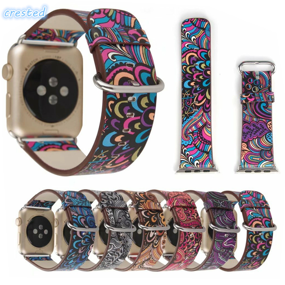 CRESTED Leather band for apple watch 3 42mm 38mm iwatch 3 2 1 wristband replacement watch strap Bracelet stainless steel adpater