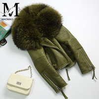 Для Женщин натуральном овечьем меху пальто Зимние теплые модные из натуральной мериносовой овчины кожаная куртка натуральной из меха енот