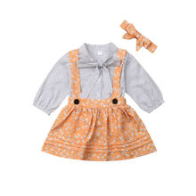 6M-5Y Toddler Baby Kid Girls Clothing Set Bow Dot T shirts + Flower Skirts Overalls + Headband Outfit Kid Costumes Autumn Spring недорого
