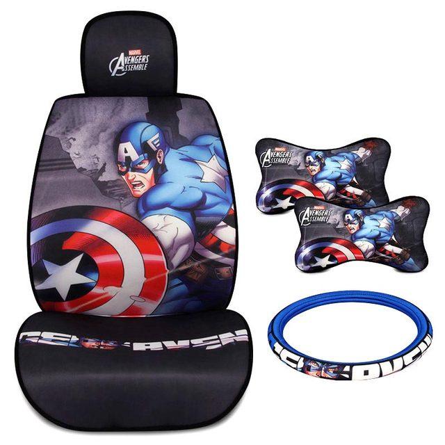 Online Shop Universal Car Seat Covers Avenger League Styling Captain America Iron Man Hulk Interior Accessories Steering Wheel Headrest
